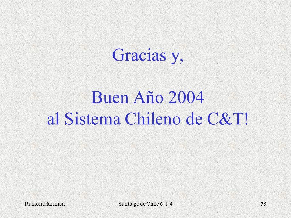 Ramon MarimonSantiago de Chile 6-1-453 Gracias y, Buen Año 2004 al Sistema Chileno de C&T!