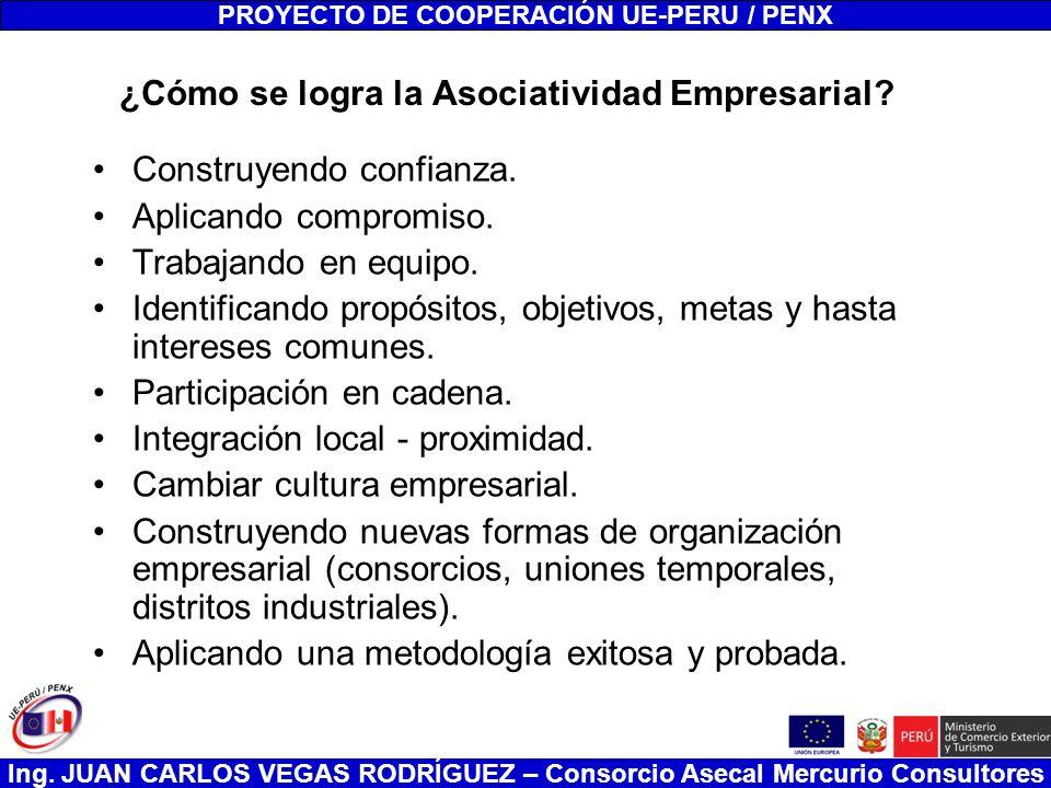 Ing. JUAN CARLOS VEGAS RODRÍGUEZ – Consorcio Asecal Mercurio Consultores ¿Cómo se logra la Asociatividad Empresarial? Construyendo confianza. Aplicand
