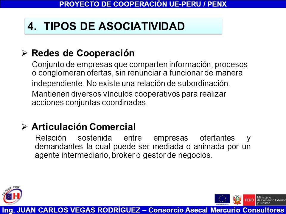 Ing. JUAN CARLOS VEGAS RODRÍGUEZ – Consorcio Asecal Mercurio Consultores 4.TIPOS DE ASOCIATIVIDAD Redes de Cooperación Conjunto de empresas que compar