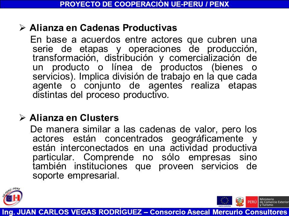 Ing. JUAN CARLOS VEGAS RODRÍGUEZ – Consorcio Asecal Mercurio Consultores Alianza en Cadenas Productivas En base a acuerdos entre actores que cubren un