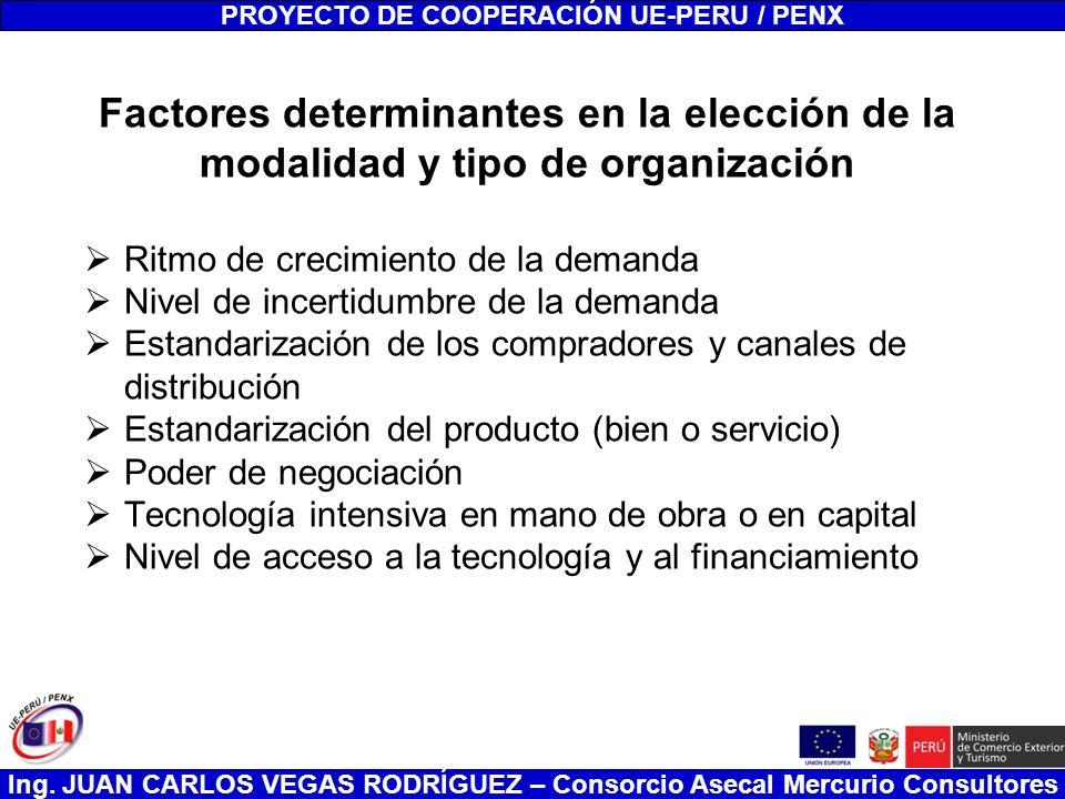 Ing. JUAN CARLOS VEGAS RODRÍGUEZ – Consorcio Asecal Mercurio Consultores Factores determinantes en la elección de la modalidad y tipo de organización