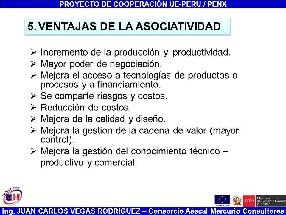 Ing. JUAN CARLOS VEGAS RODRÍGUEZ – Consorcio Asecal Mercurio Consultores Incremento de la producción y productividad. Mayor poder de negociación. Mejo