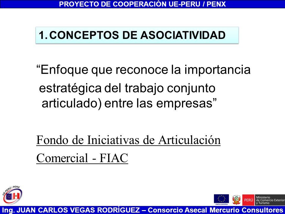 Ing. JUAN CARLOS VEGAS RODRÍGUEZ – Consorcio Asecal Mercurio Consultores Enfoque que reconoce la importancia estratégica del trabajo conjunto articula
