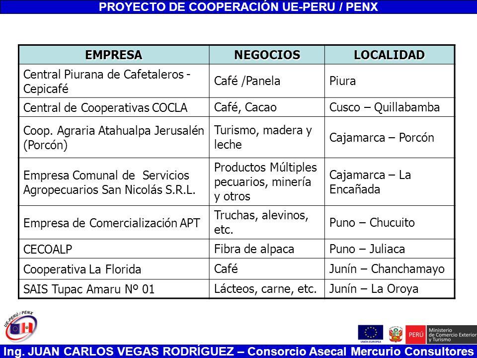 Ing. JUAN CARLOS VEGAS RODRÍGUEZ – Consorcio Asecal Mercurio Consultores PROYECTO DE COOPERACIÓN UE-PERU / PENX EMPRESANEGOCIOSLOCALIDAD Central Piura