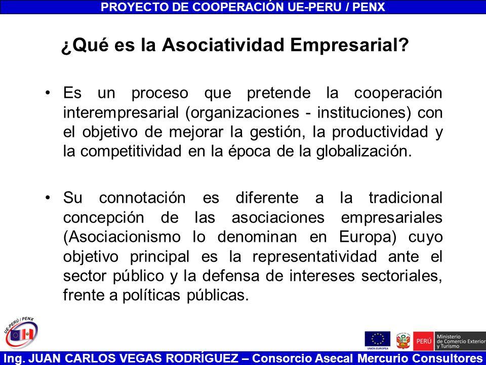Ing. JUAN CARLOS VEGAS RODRÍGUEZ – Consorcio Asecal Mercurio Consultores ¿Qué es la Asociatividad Empresarial? Es un proceso que pretende la cooperaci