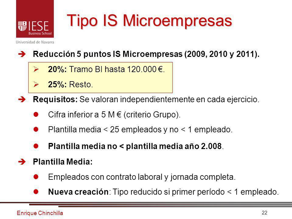 Enrique Chinchilla 22 Tipo IS Microempresas Reducción 5 puntos IS Microempresas (2009, 2010 y 2011).