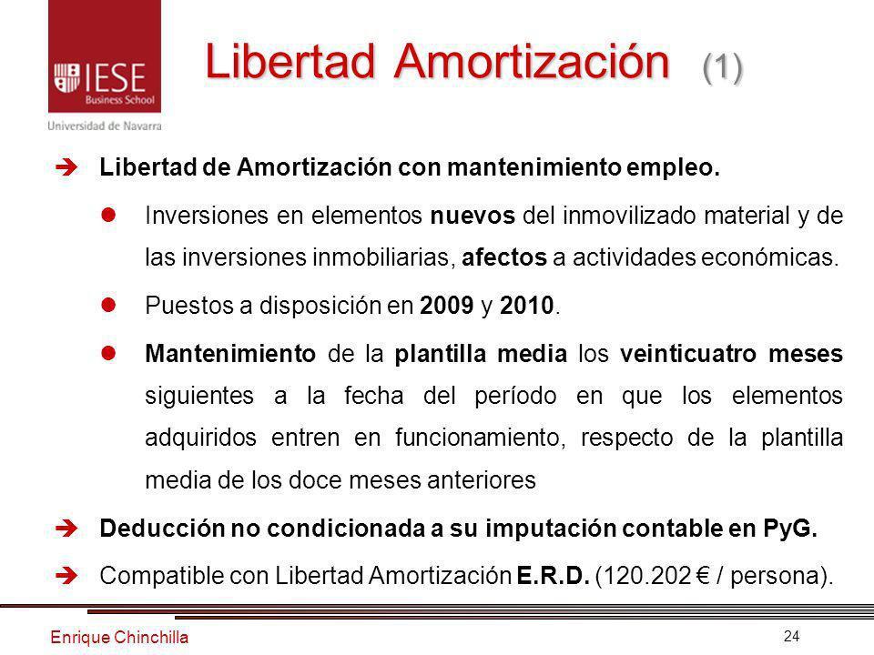 Enrique Chinchilla 24 Libertad Amortización (1) Libertad de Amortización con mantenimiento empleo.