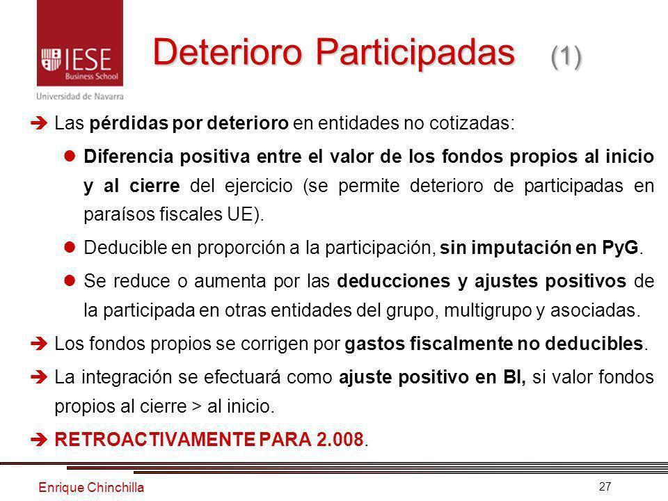 Enrique Chinchilla 27 Deterioro Participadas (1) Las pérdidas por deterioro en entidades no cotizadas: Diferencia positiva entre el valor de los fondos propios al inicio y al cierre del ejercicio (se permite deterioro de participadas en paraísos fiscales UE).