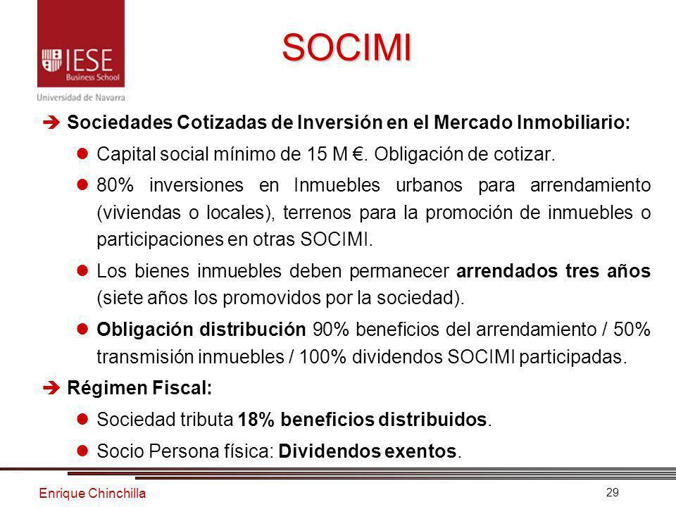 Enrique Chinchilla 29 SOCIMI Sociedades Cotizadas de Inversión en el Mercado Inmobiliario: Capital social mínimo de 15 M.