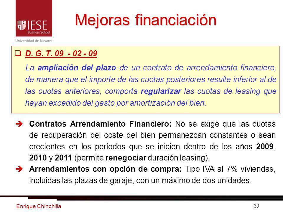 Enrique Chinchilla 30 Mejoras financiación D.G. T.