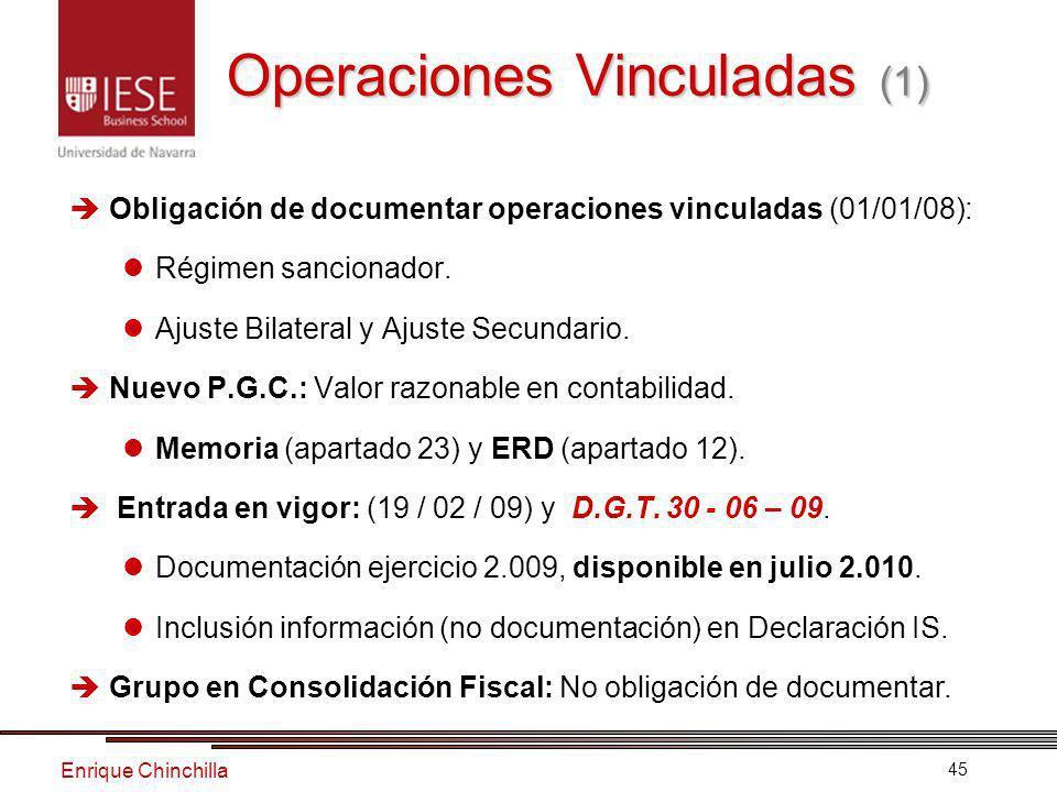 Enrique Chinchilla 45 Obligación de documentar operaciones vinculadas (01/01/08): Régimen sancionador.