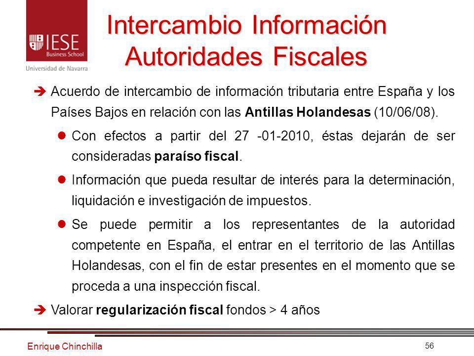 Enrique Chinchilla 56 Intercambio Información Autoridades Fiscales Acuerdo de intercambio de información tributaria entre España y los Países Bajos en relación con las Antillas Holandesas (10/06/08).