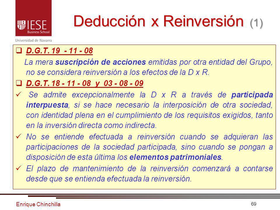Enrique Chinchilla 69 Deducción x Reinversión (1) D.G.T.
