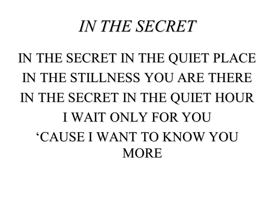 IN THE SECRET IN THE QUIET PLACE IN THE STILLNESS YOU ARE THERE IN THE SECRET IN THE QUIET HOUR I WAIT ONLY FOR YOU CAUSE I WANT TO KNOW YOU MORE IN T