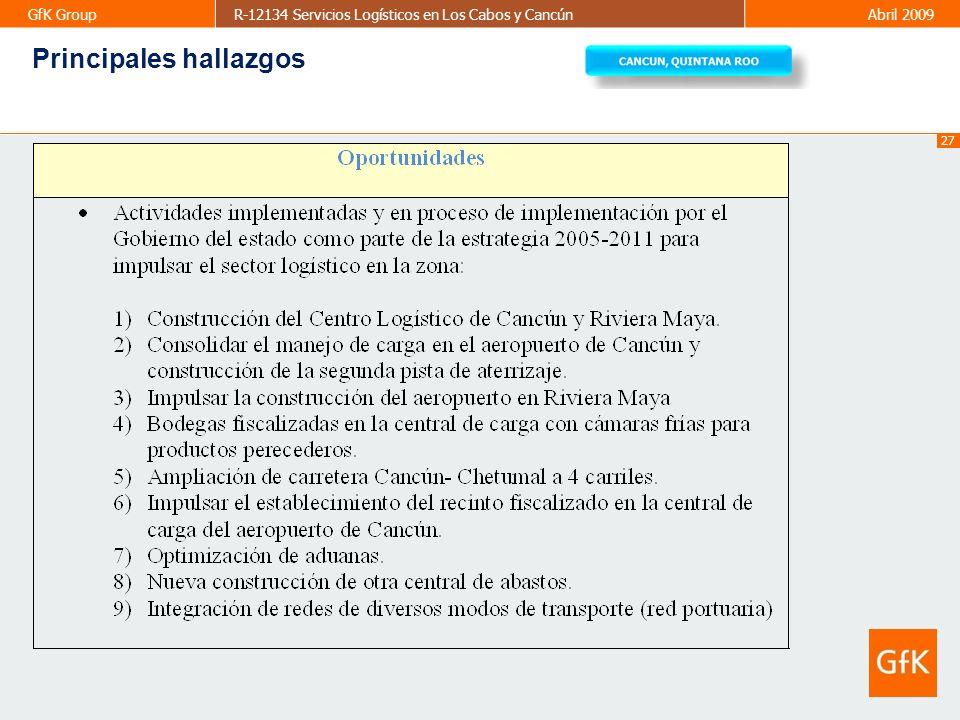27 GfK GroupR-12134 Servicios Logísticos en Los Cabos y CancúnAbril 2009 Principales hallazgos