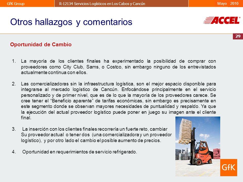 29 GfK GroupR-12134 Servicios Logísticos en Los Cabos y CancúnAbril 2009 2010 Mayo 29 Oportunidad de Cambio 1.La mayoría de los clientes finales ha ex
