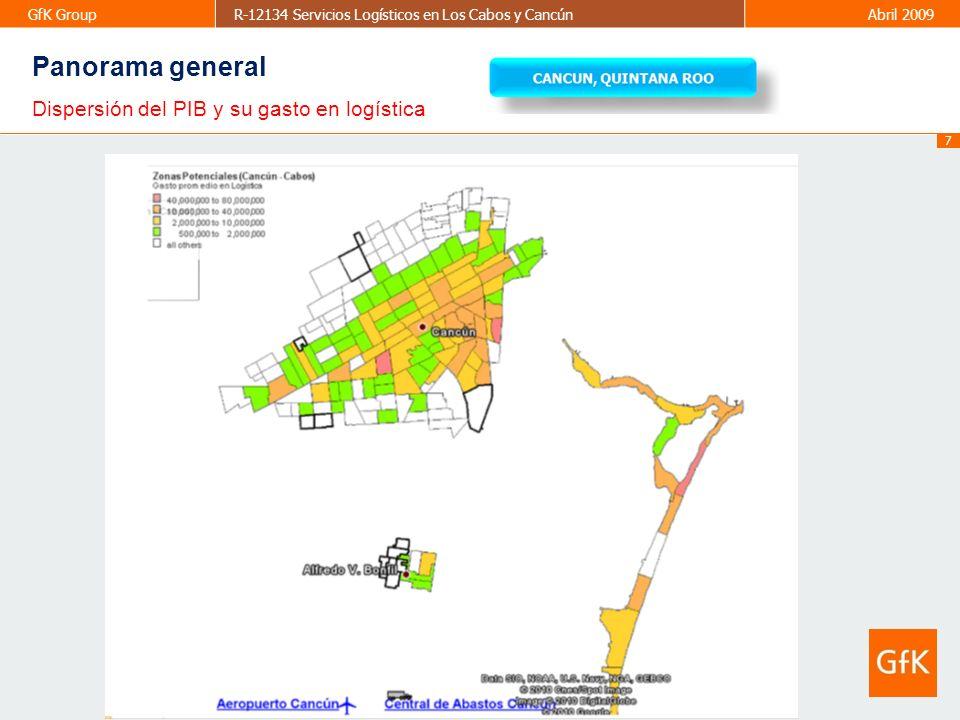 8 GfK GroupR-12134 Servicios Logísticos en Los Cabos y CancúnAbril 2009 Sectores más importantes en Cancún Vs PIB que representan en el mercado Panorama general