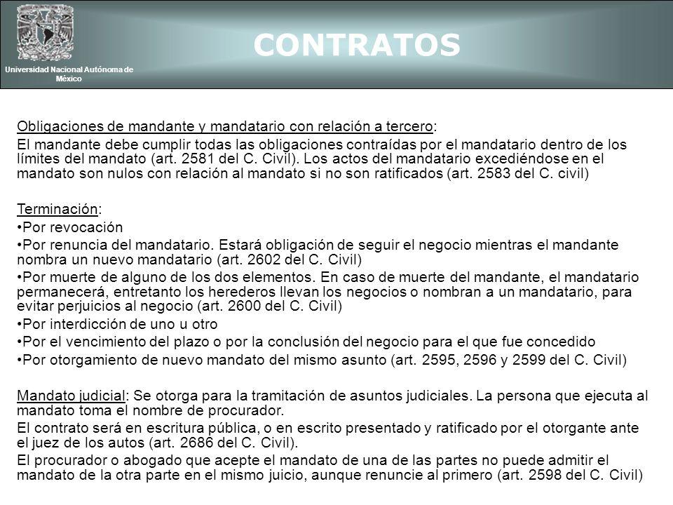 CONTRATOS Universidad Nacional Autónoma de México Obligaciones de mandante y mandatario con relación a tercero: El mandante debe cumplir todas las obl