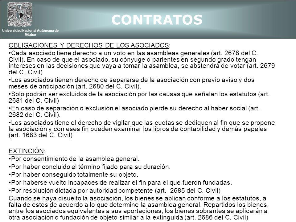 CONTRATOS Universidad Nacional Autónoma de México OBLIGACIONES Y DERECHOS DE LOS ASOCIADOS: Cada asociado tiene derecho a un voto en las asambleas gen