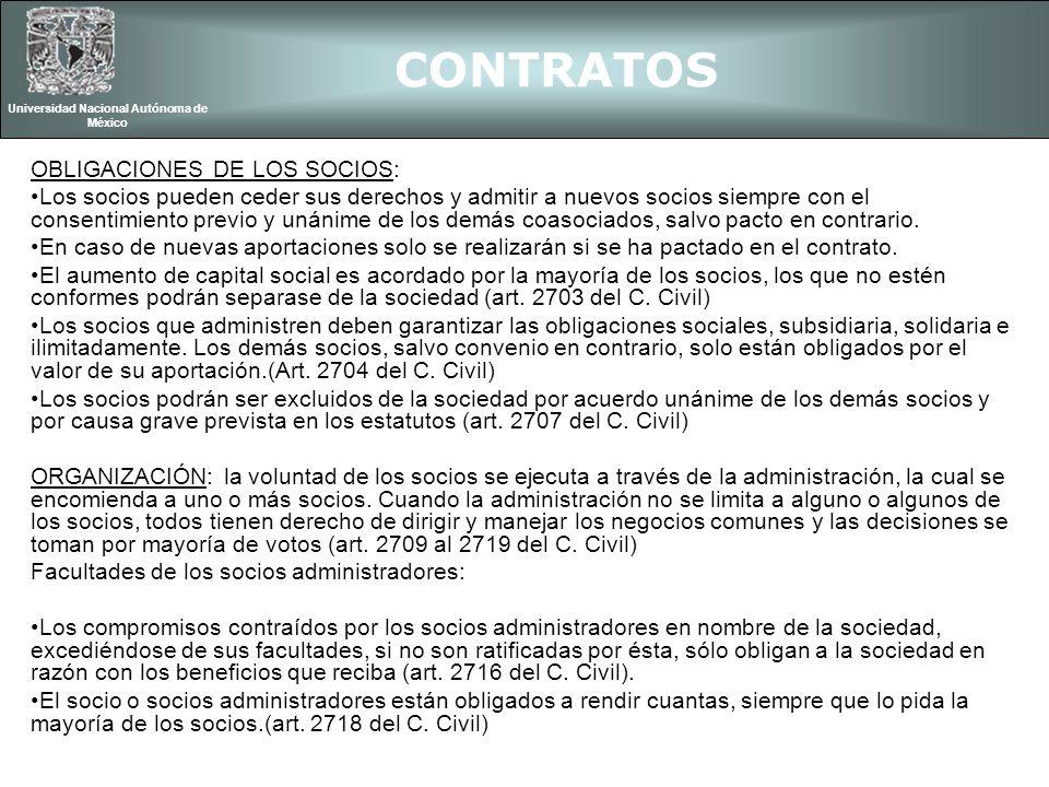 CONTRATOS Universidad Nacional Autónoma de México OBLIGACIONES DE LOS SOCIOS: Los socios pueden ceder sus derechos y admitir a nuevos socios siempre c