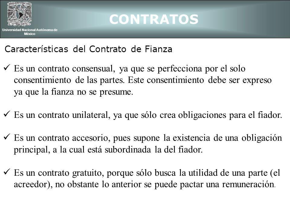 Es un contrato consensual, ya que se perfecciona por el solo consentimiento de las partes. Este consentimiento debe ser expreso ya que la fianza no se