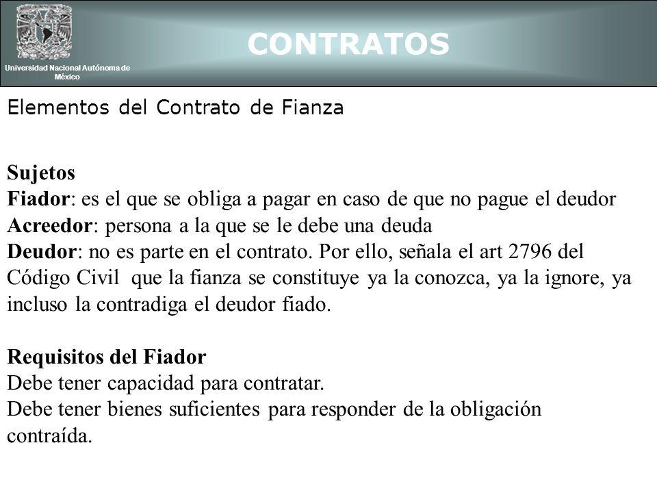 CONTRATOS Universidad Nacional Autónoma de México Elementos del Contrato de Fianza Sujetos Fiador: es el que se obliga a pagar en caso de que no pague