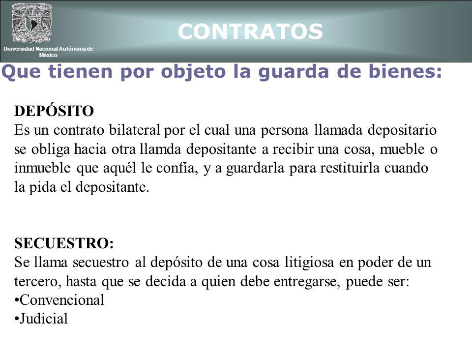 CONTRATOS Universidad Nacional Autónoma de México Que tienen por objeto la guarda de bienes: DEPÓSITO Es un contrato bilateral por el cual una persona