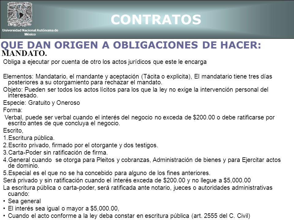 CONTRATOS Universidad Nacional Autónoma de México Obligaciones del mandatario con respecto al mandante son: Sujetarse a las instrucciones del mandante (art.
