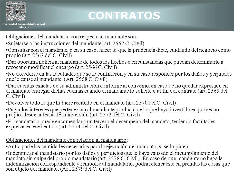 CONTRATOS Universidad Nacional Autónoma de México Obligaciones de mandante y mandatario con relación a tercero: El mandante debe cumplir todas las obligaciones contraídas por el mandatario dentro de los límites del mandato (art.