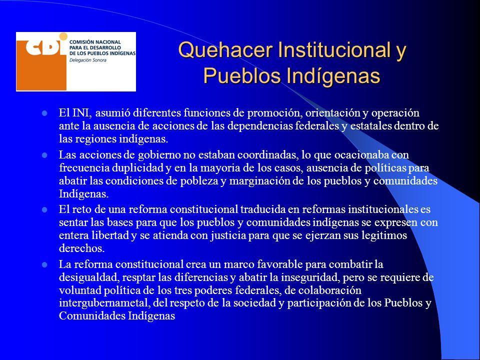 Quehacer Institucional y Pueblos Indígenas El INI, asumió diferentes funciones de promoción, orientación y operación ante la ausencia de acciones de las dependencias federales y estatales dentro de las regiones indígenas.