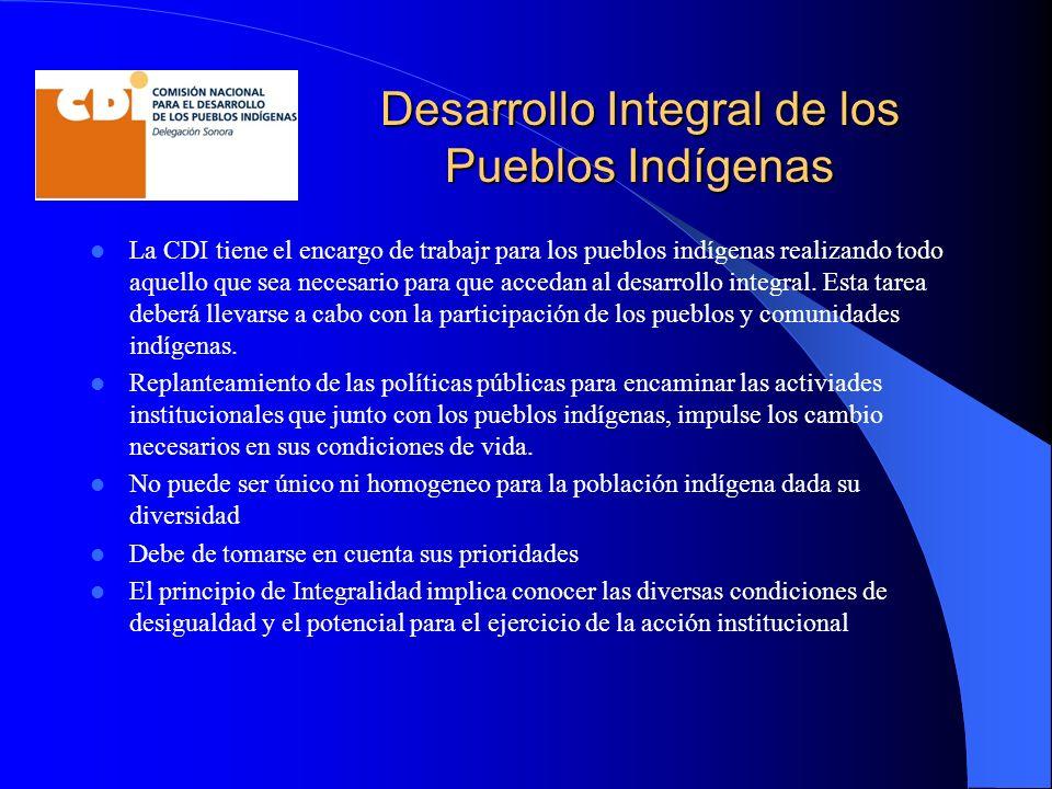 Desarrollo Integral de los Pueblos Indígenas La CDI tiene el encargo de trabajr para los pueblos indígenas realizando todo aquello que sea necesario para que accedan al desarrollo integral.