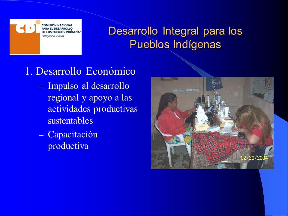 Desarrollo Integral para los Pueblos Indígenas 1. Desarrollo Económico – Impulso al desarrollo regional y apoyo a las actividades productivas sustenta