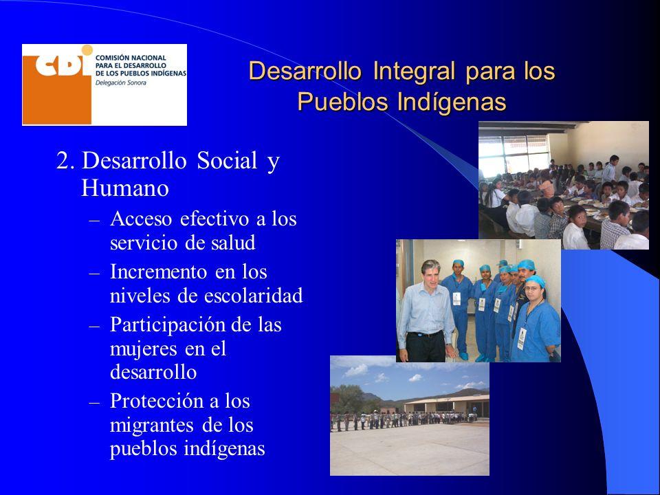 Desarrollo Integral para los Pueblos Indígenas 2. Desarrollo Social y Humano – Acceso efectivo a los servicio de salud – Incremento en los niveles de