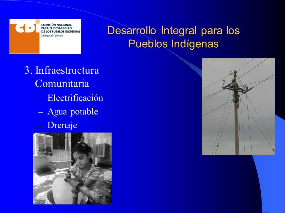 Desarrollo Integral para los Pueblos Indígenas 3. Infraestructura Comunitaria – Electrificación – Agua potable – Drenaje