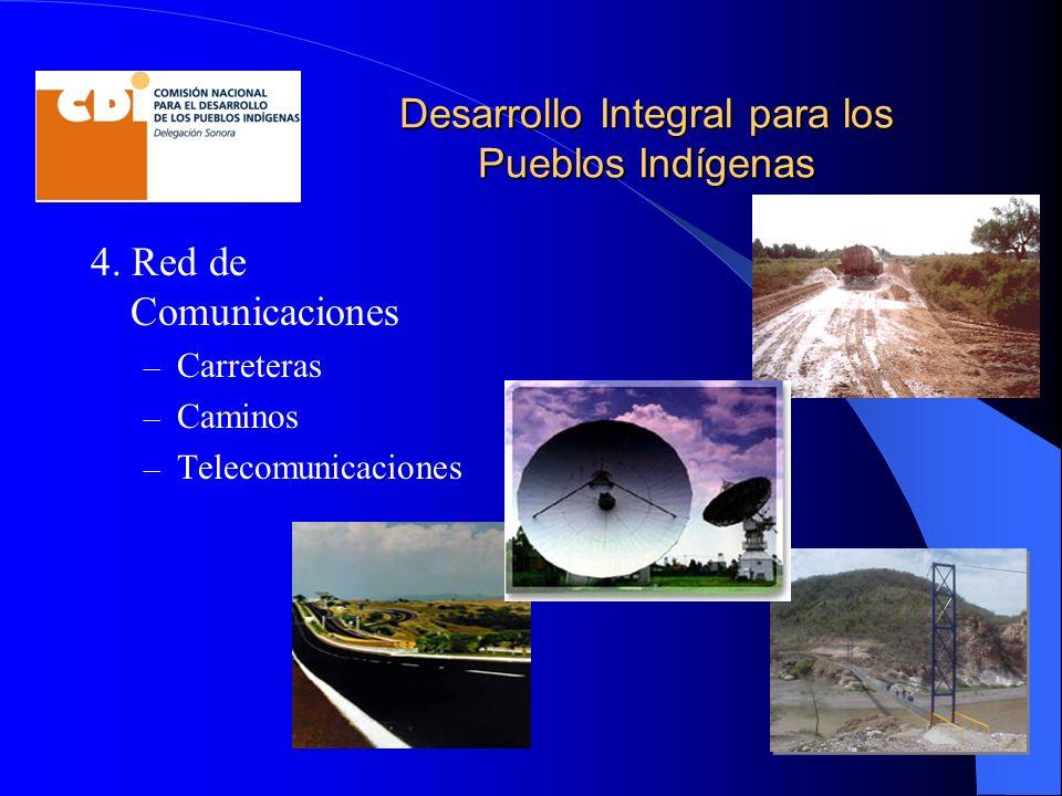 Desarrollo Integral para los Pueblos Indígenas 4. Red de Comunicaciones – Carreteras – Caminos – Telecomunicaciones