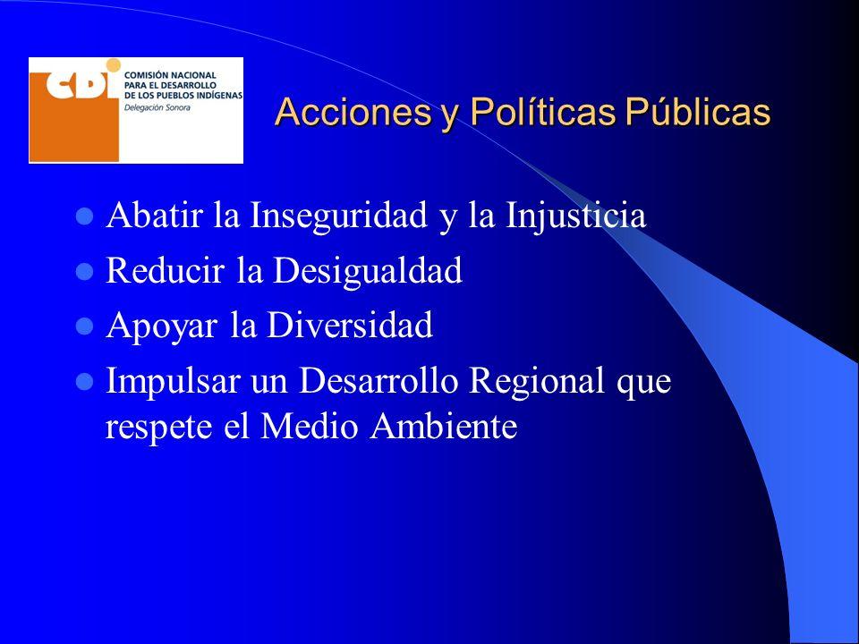 Acciones y Políticas Públicas Abatir la Inseguridad y la Injusticia Reducir la Desigualdad Apoyar la Diversidad Impulsar un Desarrollo Regional que re