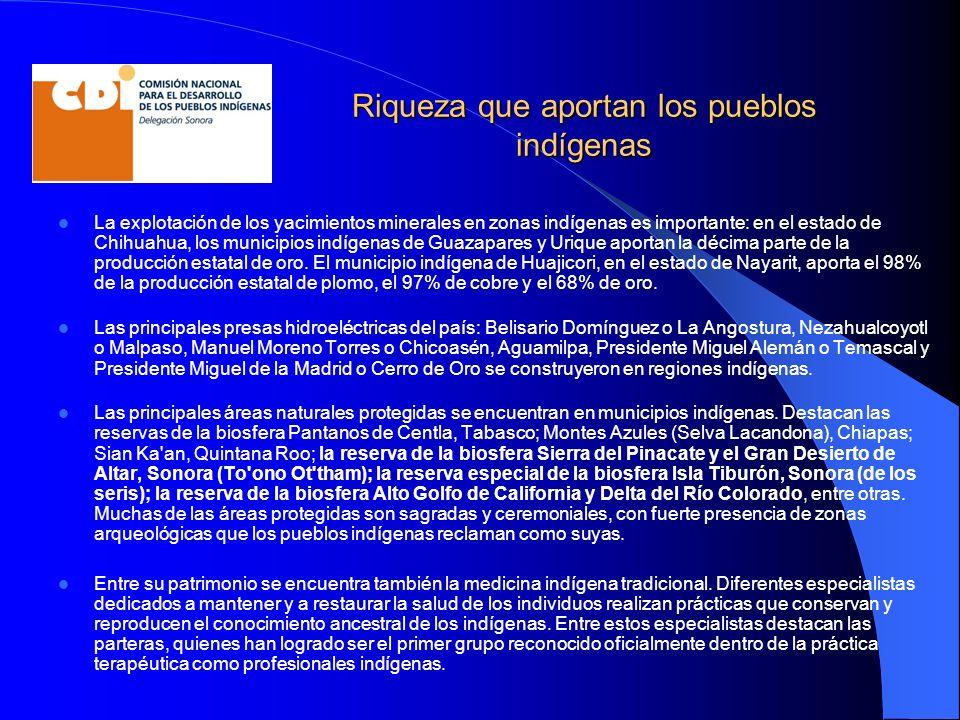 Riqueza que aportan los pueblos indígenas La explotación de los yacimientos minerales en zonas indígenas es importante: en el estado de Chihuahua, los municipios indígenas de Guazapares y Urique aportan la décima parte de la producción estatal de oro.