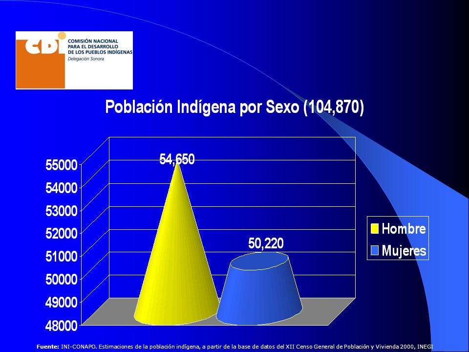 Fuente: INI-CONAPO. Estimaciones de la población indígena, a partir de la base de datos del XII Censo General de Población y Vivienda 2000, INEGI