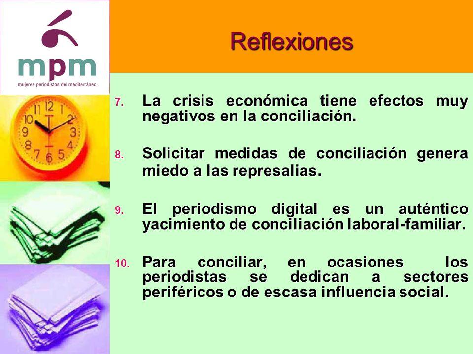 Reflexiones 7. La crisis económica tiene efectos muy negativos en la conciliación.
