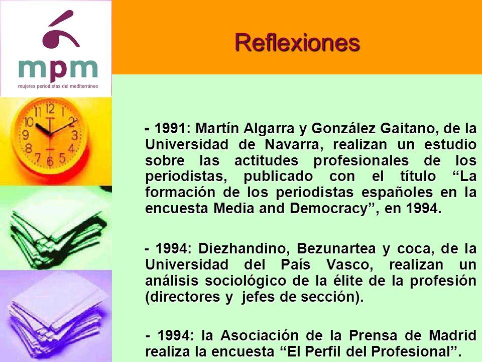 Reflexiones - 1991: Martín Algarra y González Gaitano, de la Universidad de Navarra, realizan un estudio sobre las actitudes profesionales de los periodistas, publicado con el título La formación de los periodistas españoles en la encuesta Media and Democracy, en 1994.