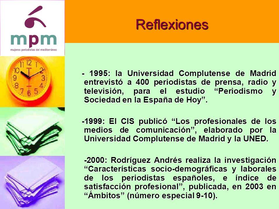 Reflexiones - 1995: la Universidad Complutense de Madrid entrevistó a 400 periodistas de prensa, radio y televisión, para el estudio Periodismo y Sociedad en la España de Hoy.