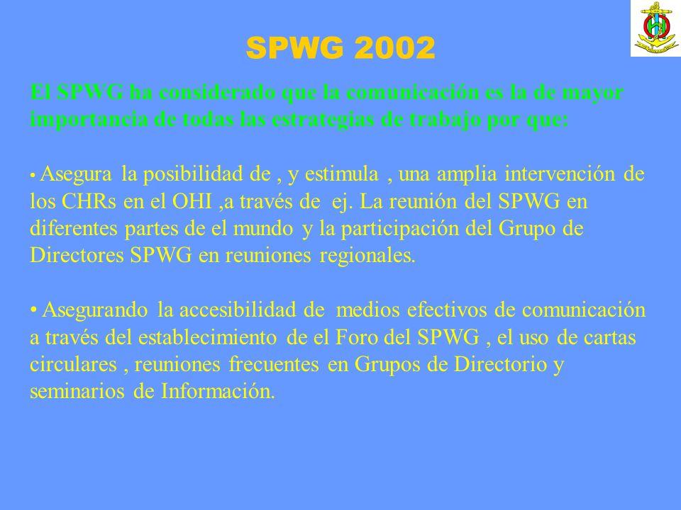 SPWG 2002 El SPWG ha considerado que la comunicación es la de mayor importancia de todas las estrategias de trabajo por que: Asegura la posibilidad de, y estimula, una amplia intervención de los CHRs en el OHI,a través de ej.
