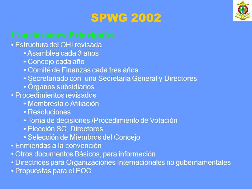 SPWG 2002 Conclusiones Principales Estructura del OHI revisada Asamblea cada 3 años Concejo cada año Comité de Finanzas cada tres años Secretariado co