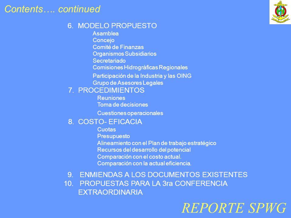 6. MODELO PROPUESTO Asamblea Concejo Comité de Finanzas Organismos Subsidiarios Secretariado Comisiones Hidrográficas Regionales Participación de la I