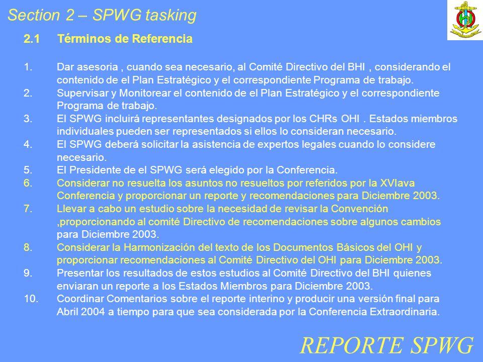 2.1Términos de Referencia 1.Dar asesoria, cuando sea necesario, al Comité Directivo del BHI, considerando el contenido de el Plan Estratégico y el correspondiente Programa de trabajo.