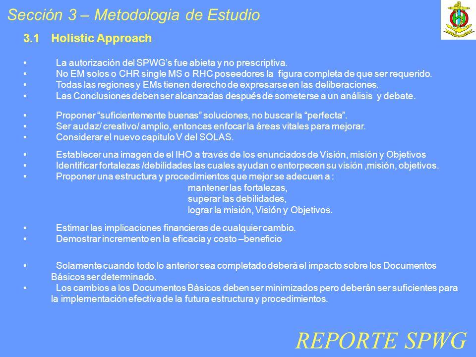 Sección 3 – Metodologia de Estudio Establecer una imagen de el IHO a través de los enunciados de Visión, misión y Objetivos Identificar fortalezas /de