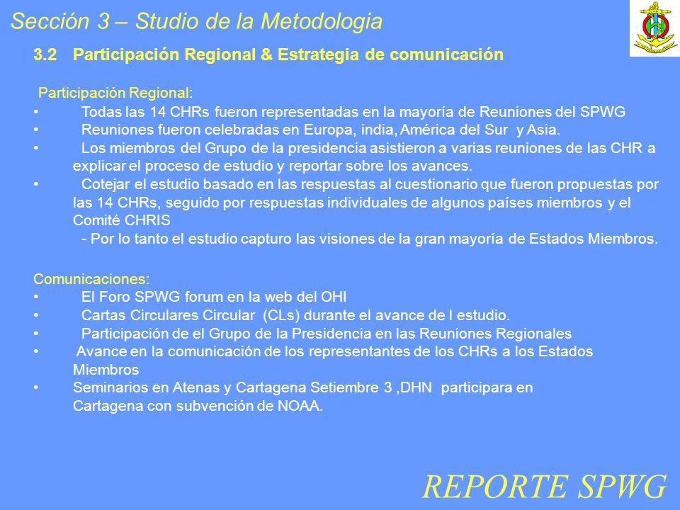 Sección 3 – Studio de la Metodologia Participación Regional: Todas las 14 CHRs fueron representadas en la mayoría de Reuniones del SPWG Reuniones fuer