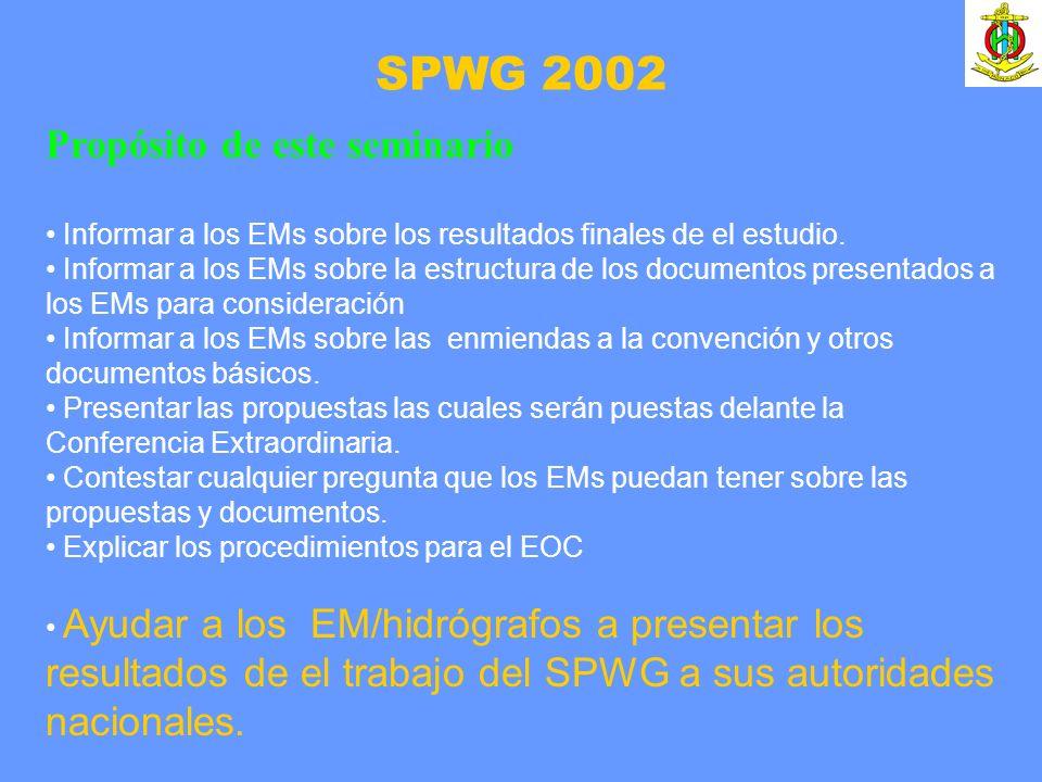 SPWG 2002 Propósito de este seminario Informar a los EMs sobre los resultados finales de el estudio. Informar a los EMs sobre la estructura de los doc