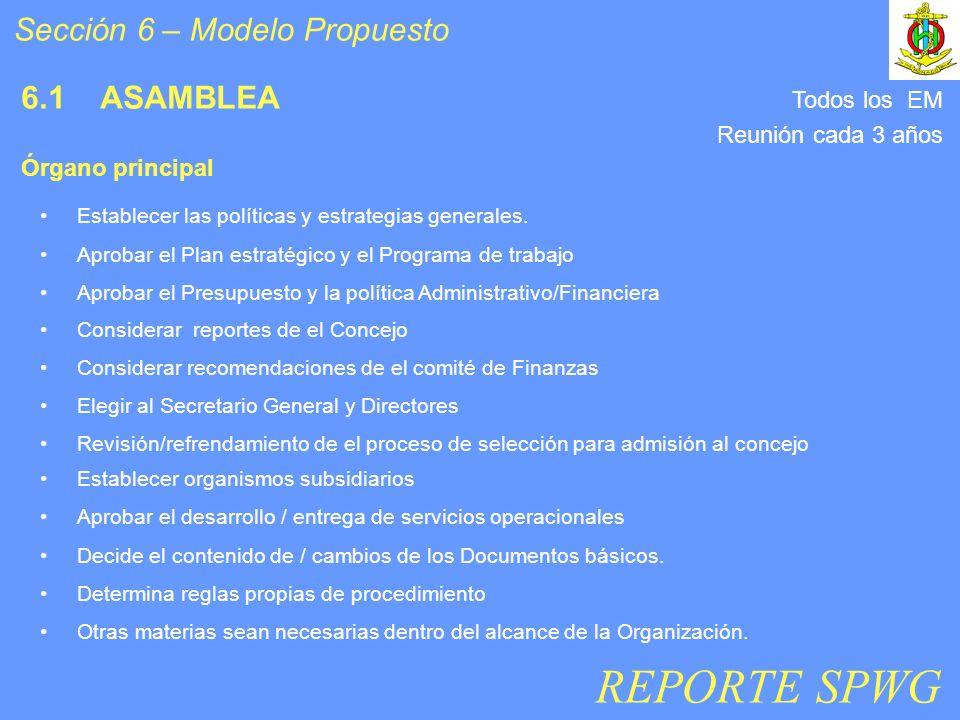 6.1 ASAMBLEA Establecer organismos subsidiarios Aprobar el desarrollo / entrega de servicios operacionales Decide el contenido de / cambios de los Documentos básicos.