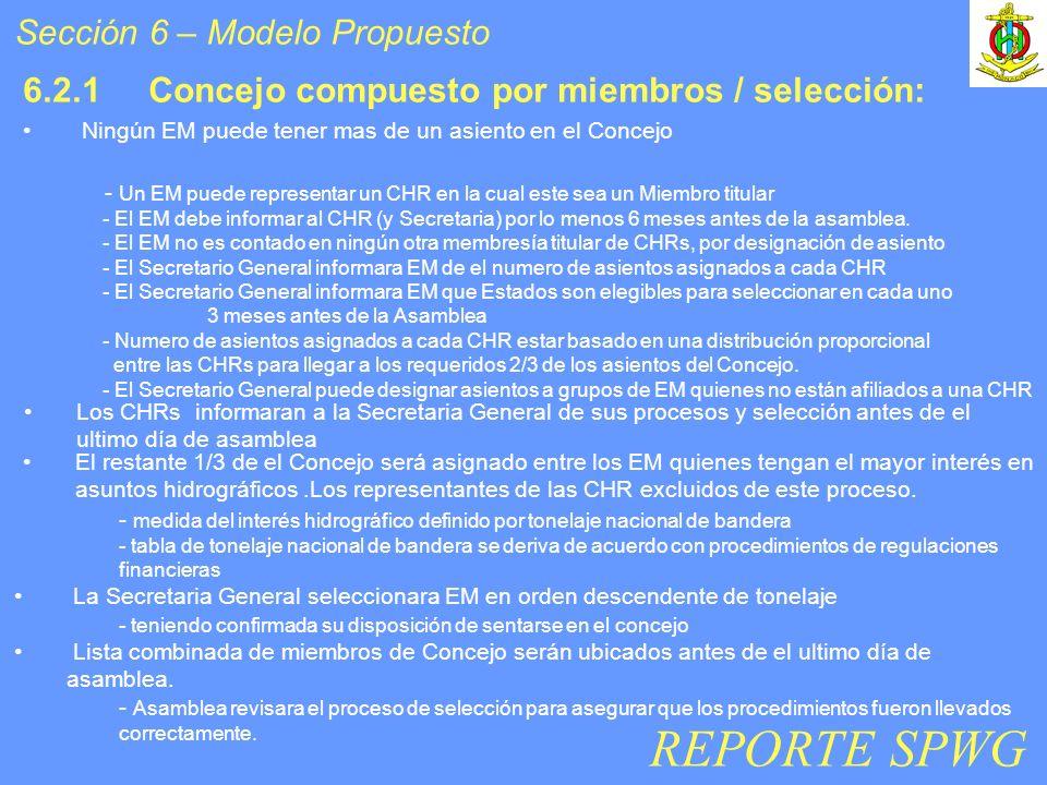 6.2.1 Concejo compuesto por miembros / selección: Los CHRs informaran a la Secretaria General de sus procesos y selección antes de el ultimo día de as